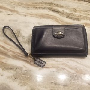 Coach Navy Leather Wristlet